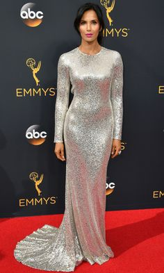 Emmys 2016: Best Dresses of the Night - Padma Lakshmi in silver Naeem Khan