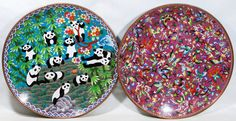 Lot 473: Asian Cloisonne Chargers; Two contemporary items including a charger with pandas and another with birds and butterflies