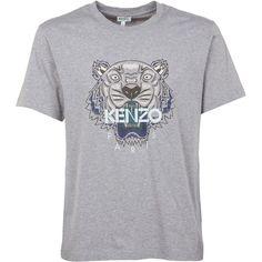 Logo T Shirt (121 500 LBP) ❤ liked on Polyvore featuring men's fashion, men's clothing, men's shirts, men's t-shirts, grey, mens grey t shirt, mens short sleeve t shirts, mens short sleeve cotton shirts, mens grey shirt and mens cotton t shirts