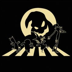 "An Abbey Road version of a Nightmare Before Christmas by SaMtRoNiKa/Marta Martinez. ""Halloween Road"" is for fans of Jack Skellington and friends. Jack Skellington, Abbey Road, Halloween Art, Halloween Decorations, Cute Wallpapers, Wallpaper Backgrounds, Wallpaper Pictures, The Beatles, Nightmare Before Christmas Shirts"