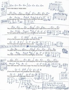 Into the Great Wide Open (Tom Petty) Guitar Chord Chart