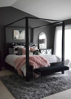 Home decor bedroom, dream bedroom, rug for bedroom, bedroom modern, bedroom Room Ideas Bedroom, Cozy Bedroom, Home Decor Bedroom, Modern Bedroom, Contemporary Bedroom, Fancy Bedroom, Beds Master Bedroom, Pink And Silver Bedroom, Classy Bedroom Ideas