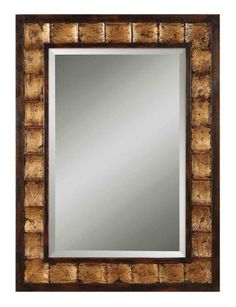 38 Distressed Mahogany Brown Gold Wood Framed Beveled Rectangular Wall  Mirror ** Check Out This