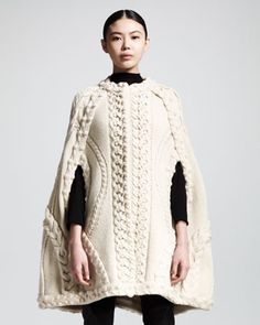 Aran is alive and well for another season with this cape sold out already for AW13. Mixed-Knit Cape by Alexander McQueen at Bergdorf Goodman.
