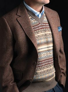 Mens Fair isle Sweater Vest in Mocha with Blazer