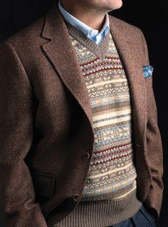Mens Fair isle Sweater Vest in Mocha with Blazer