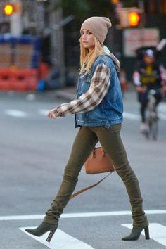 Hailey Baldwin wearing Yeezy Season 2 Boots and Givenchy Antigona Small Bag in Caramel