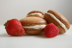 Strawberry Macarons with White Chocolate Ganache Filling - The Redhead Baker