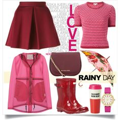 Rainy Day Style by alaria on Polyvore featuring polyvore, moda, style, P.A.R.O.S.H., Hunter, MICHAEL Michael Kors, Kate Spade, Oscar de la Renta, rainyday and rainydaystyle