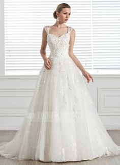 Ball-Gown Sweetheart Court Train Tulle Wedding Dress With Beading Appliques Flower(s) (002005283)