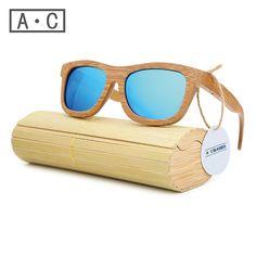 A.C 2017 New fashion Products Men Women Glass Bamboo Sunglasses au Retro Vintage Wood Lens Wooden Frame Handmade ZA03