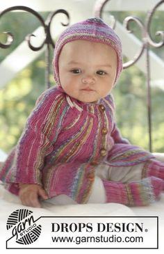 Little Jamboree / DROPS Baby 16-3 - Set of jacket knitted from side to side, socks and bonnet for baby and children in DROPS Fabel