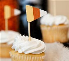 Add flare to your party with these fun candy corn toppers!