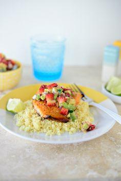 Citrus Salmon + Strawberry Avocado Salsa l www.SimplyScratch.com