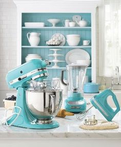 "(link) Blog Posted 7.12.2008 ~ MARTHA MOMENTS: Martha and Kitchenaid ~ ""...that particular shade of ""Martha Stewart blue"" has spread itself upon the beautiful kitchen appliances of KitchenAid, in a deal that is exclusive to Macy's. The classic KitchenAid stand mixer, the hand mixer and the blender now all come in her trademark blue at Macy's. ~ Much debate over ""Martha Stewart blue"" vs. ""Tiffany Blue""... did MS infringe upon Tiffany Jewelers trademark hue?  ~ Reader comment posted 3.27.2010…"