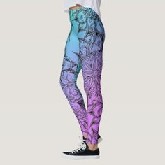 Shop Gradient Floral Pattern Leggings created by Zeichenbloq. Grandparents Tattoo, Pattern Leggings, Custom Leggings, Tattoo Fonts, Watercolor Tattoo, Pattern Design, Tattoos, Floral, Shopping