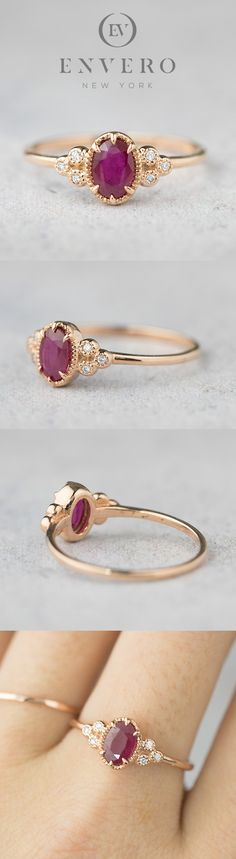 rose gold ruby diamond up engagement ring. Perfect alternative engagement ring as well as valentine's day gift. Ruby is a birthstone for july. Give this romantic red ruby ring to your special someone as a token on love. Jewelry Design Earrings, Gold Rings Jewelry, Gold Earrings Designs, Gold Jewellery Design, Gold Bangles, Necklace Designs, Bridal Jewelry, Gold Ring Designs, Bridesmaid Jewelry Sets