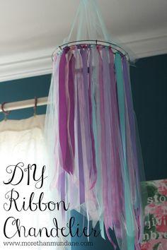 DIY Ribbon Chandelier   www.morethanmundane.com