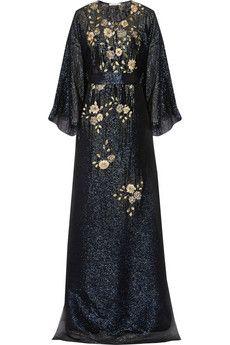 Oscar de la Renta Embellished silk-chiffon lamé gown | NET-A-PORTER