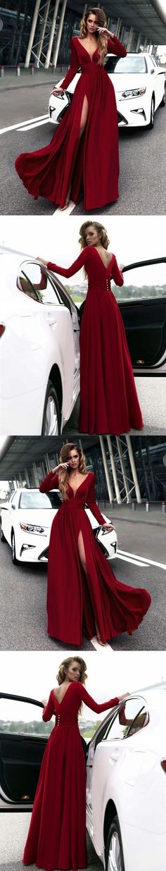 v neck long sleeves red prom dress with side slit M1029
