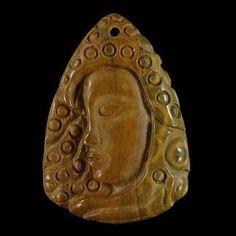 BI39117-Natural-Hand-Carved-Face-Succor-Creek-Jasper-Pendant-Bead ~ MINE