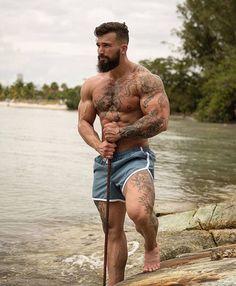 Touch my Beard is part of Muscle men - I lost my teddy bear will you sleep with me Hairy Men, Bearded Men, Bearded Tattooed Men, Scruffy Men, Men Handsome, Hot Men, Hot Guys, Inked Men, Beard Tattoo