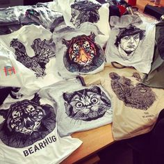 Some of the new TShirts we'll be releasing in 2014 - email info@thebearhug.com for individual release dates - www.thebearhug.com/ - #thebearhugco #thebearhug #samples #tshirt #screenprint #lukedixon #illustration #design Release Date, Screen Printing, Hug, Bear, Dates, Classic, Illustration, Design, Fashion