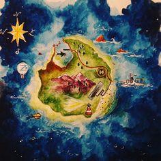 Pescespada Island #thelifeaquatic #thebelafonte #submarine #zissou #stevezissou #watercolour #illustrationdaily #wesanderson