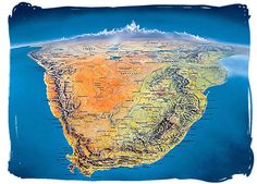 Satellite view of South Africa: the main feature is an immense plateau covering most of the country; this is part of the African plateau which extends north up to the Sahara desert regions. The mtn ranges rise quite abruptly along the perimeter of the coastal lowlands. The Great Escarpment has mtn heights ranging from 6500 - 10,800 ft