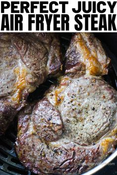 Best juicy air fryer steak recipe, cooked to perfection! No mess, no splashing oil, just tasty beef steak ( use sirloin or ribeye or any other favorite cut) for your next dinner. Air Fryer Recipes Steak, Air Fryer Recipes Snacks, Sirloin Steak Recipes, Air Fryer Recipes Low Carb, Air Fryer Steak, Air Fryer Recipes Breakfast, Air Frier Recipes, Air Fryer Dinner Recipes, Beef Recipes