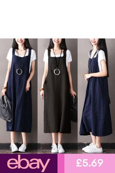 UK Women Denim Look Sleeveless Spaghetti Straps Baggy Tops Overalls Dress Short Mini Dress, Long Sleeve Shirt Dress, Suspenders For Women, Baggy Tops, Dungaree Dress, Suspender Dress, Mini Club Dresses, Overall Dress, Casual Summer Dresses