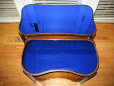 "Antique, Art Deco, Cobalt Blue, Mirror Glass Top, Coffee & End Tables (1930's) beautiful antique art deco coffee and end table set cobalt blue mirror glass top glass is in very good condition with only a few blemishes, most on the end table, as seen in the photos wood is in good condition with slight general wear joints need tightening but are solid the coffee table is 17"" high x 32"" long x 17"" wide the end table is 21"" tall x 25.25"" long x 12.5"" wide $400"