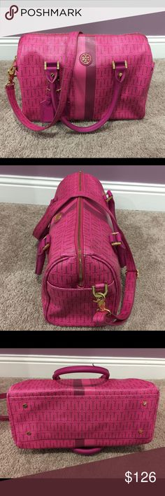 Tory Burch Pink Bowler Purse Cute pink Authentic tory burch pink and purple bowler purse. Worn but in good condition. Has a few tiny scuffs on some of the corners and handles but other than that it's in great condition! Tory Burch Bags Shoulder Bags
