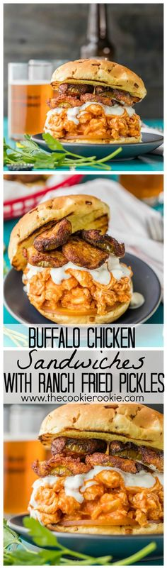 Slow Cooker Buffalo Chicken Sandwiches with Ranch Fried Pickles. THE PERFECT TAILGATING SANDWICH!! Easy, delicious, and full of flavor!