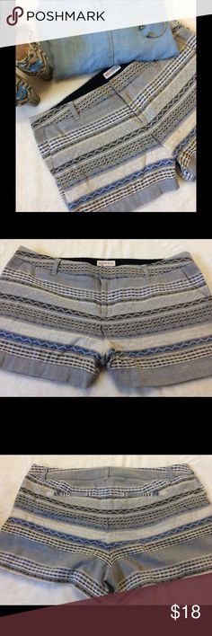 Merona Geometric Print Shorts Merona Shorts Size 12 Worn once to an event Like New Blue Black White and Tan Hook and button closure Waist to Hem 12in Flat lay waist front is 18in 100% Cotton Front rise is 9 1/2in Back 12in Geometric Print Excellent Condition Merona Shorts