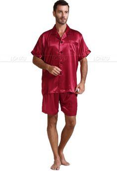 Mens Silk Satin Pajamas Pajama Pyjamas Short Set Sleepwear Loungewear U.S.S,M,L,XL,2XL,3XL ,4XL Solid__6Colors
