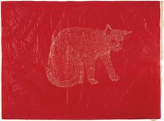Artwork by Kiki Smith, Cat, Made of ink on rice paper