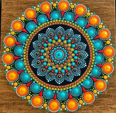 Dotart mandala in orange and blue.💖 my favorite color scheme at the moment! Mandala Art Lesson, Mandala Artwork, Mandala Canvas, Mandala Painting, Mandala Drawing, Mandala Design, Mandala Pattern, Stone Art Painting, Dot Art Painting