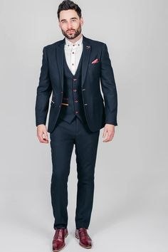 Click here to discover our collection of Men's 3 Piece Suits. Browse our vintage inspired designs in a variety of prints, colours & materials. Shop today! Black And Grey Suit, Classic Blue Suit, Classic Blues, Mens 3 Piece Suits, Three Piece Suit, Navy Slim Fit Suit, Double Breasted Waistcoat, Plain White Shirt, Suit Shop