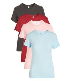 Pima Apparel Light Pink & Light Blue Crewneck Tee Set - Women | Zulily