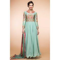 Buy designer , Anarkali churidar crepe festival plus size dress, Green resham embroidered andaaz dresses now in shop. Andaaz Fashion brings latest designer ethnic wear collection in UK