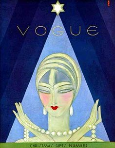 Vintage Deco Flapper Vogue Cover--Mystic Green Christmas