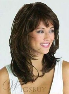 Details about Graceful Medium Wavy Natural Brown 14 Inches Synthetic Wig Hair - Hair Styles 😎 Shoulder Length Layered Hair, Layered Hair With Bangs, Medium Length Hair Cuts With Bangs, Wavy Layers, 2015 Hairstyles, Hairstyles With Bangs, Cool Hairstyles, Black Hairstyles, Hairstyle Ideas