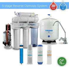 5 Stage Residential Drinking Reverse Osmosis System With Booster Pump 75 GPD Reverse Osmosis Water, Reverse Osmosis System, Brushed Nickel Faucet, Water Filtration System, Water Filter, Drinking, Stage, Pumps, Cleaning