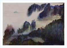 Brumes sur les falaises, en Asie (Peinture),  45x30 cm par Maï Laffargue travail dans l'humide avec des teintes vibrantes, bleues, violacées, vertes . Cadre blanc virtuel.