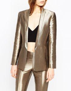 Image 3 ofASOS Premium Slim 70s Jacket in Metallic Co-ord