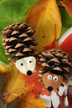 hérissons pommes de pin, activité manuelle pour l'automne