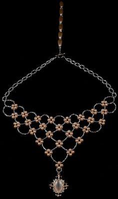 Champagne pearl plata cristal checo cuentas collar nupcial
