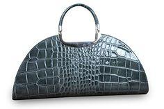 Made in Italy Luxus Damen Clutch Henkeltasche Echt Leder Kroko Prägung Grau - http://herrentaschenkaufen.de/my-musthave/made-in-italy-luxus-damen-clutch-henkeltasche-3