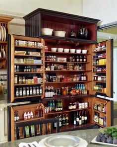 53 Mind-blowing kitchen pantry design ideas--- this is amazing. I love that the doors have storage too. Better use of the depth to split it between the door and the inside shelves. Means there's no deep space to have to reach way back into. It's all within a row or two deep.